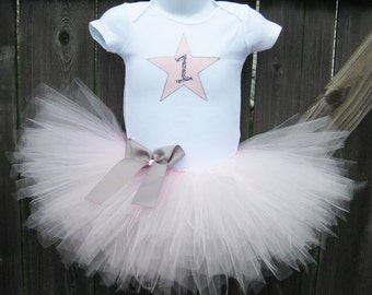 Pink and Silver Star First Birthday Tutu Set and Matching Headband | Birthday Star Tutu Outfit | Other Colors Available