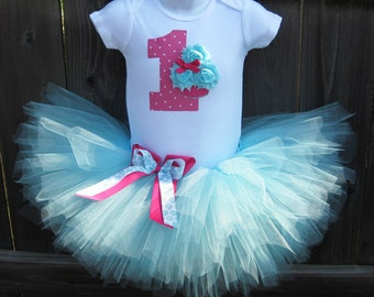 Baby's First Birthday Dark Pink and Aqua Cupcake Tutu Set and Matching Headband | Birthday Photo Prop, Party Dress