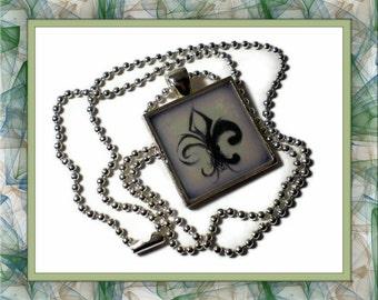 Lavender Fleur de Lis Tile Pendant Necklace 24 inches