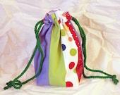 stripes and polka dots multicoloured fabric scraps dice bag