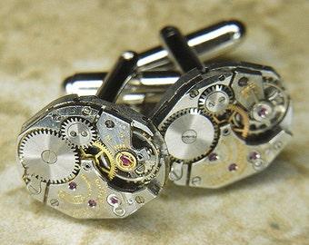 Steampunk Cufflinks Cuff Links - Vintage Silver GRUEN  Watch Movements - TORCH SOLDERED - Wedding, Anniversary Gift - Exquisite Pair