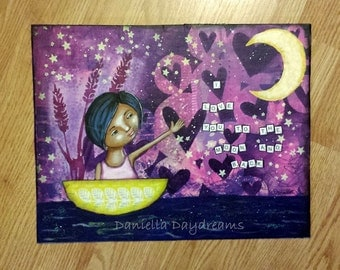 I Love You To The Moon And Back - Whimsical Folk Art Girl - 11x14 Original Mixed Media Painting on Canvas Board