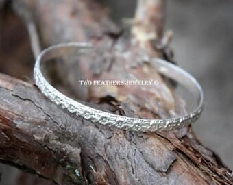 Sterling Silver Cuff Bracelet - Flower Bracelet - Hand Forged Silver Bracelet - Feminine Silver Flower Cuff - Artisan Jewelry - Two Feathers