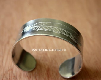 Feather Cuff Bracelet - Hand Engraved Cuff - Feather Bracelet - Two Feathers Jewelry - Original Art Jewelry - Wide Metal Cuff - Non Tarnish