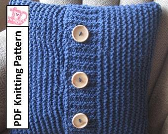 Knit pattern pdf, knit pillow cover pattern, Super Simple Pillow Cover in 6 sizes - PDF KNITTING PATTERN