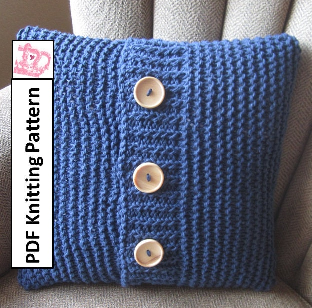 Knitting Pillow Pattern : Knit pattern pdf pillow cover super simple