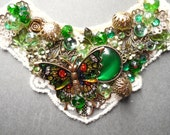 Victorian Collage necklace, Green necklace, Lace, Green, Ivory, Gold, Emerald Green, assemblage, Shabby Chic, Steampunk, Vintage, Romantic,