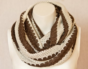 Knit Striped Scarf Ivory Infinity Scarf Cotton Jersey Scarf Brown Scarf Jersey Knit Scarf Circle Scarf