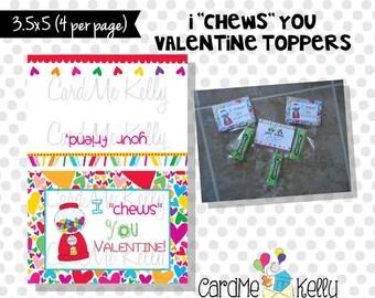 INSTANT DOWNLOAD Printable Gum Gumball Unique Valentine Treat bag Topper Label