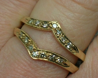 Diamond Ring Jacket Guard. 14K Gold, Dress Up Your Solitaire Engagement Ring, Wedding Anniversary Band. Size 6 1/4