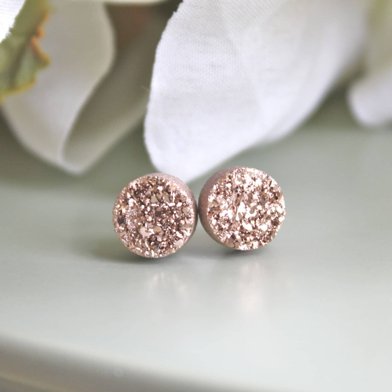Rose Gold Druzy Earrings gifts for her Bridesmaid Earrings Rose gold earrings stud earring Mothers Day gift, Best friend best selling items