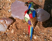 DeNicola Enameled Parrot Brooch with glass eye Signed Vintage RARE