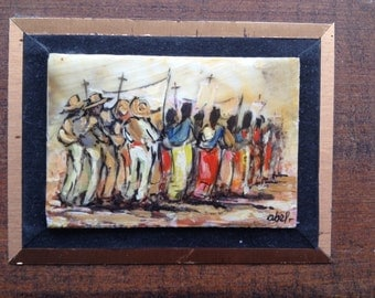 Mexican oil painting on Bull Horn signed by artist Vintage art festival ORIGinal religious Ceremonial