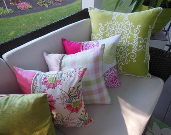 Bright Decorative Pillows - Limited Inventory - Citrus Colorful Bright Bold Pillows - Pink Orange Lime Green - Tropical Spiral Paisley