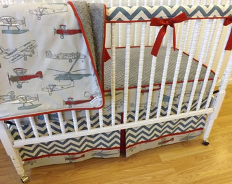 Bumperless airplane crib bedding made to order boy bedding