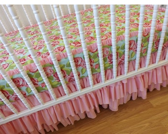 MADE to ORDER-- BUMPERLESS Crib Bedding-- Girl Crib Bedding