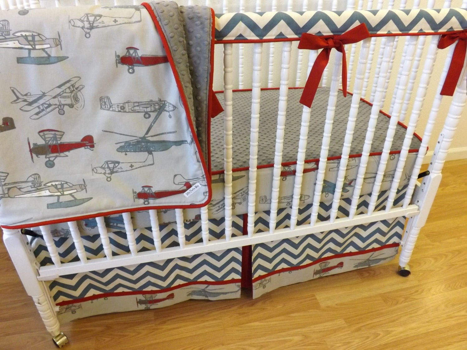 Bumperless airplane crib bedding made to by littlecharliemay - Airplane crib bedding sets ...