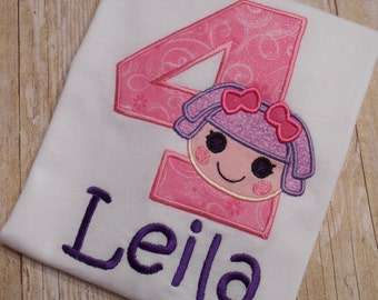 Custom Boutique Lala doll Birthday Applique t-shirt or bodysuit - machine embroidered - personalized