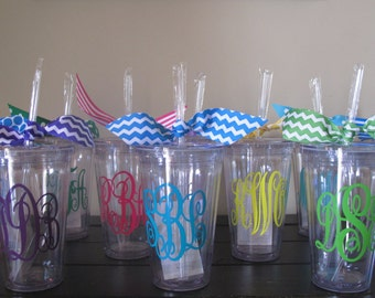 Personalized Double Wall Insulated Tumbler with Straw