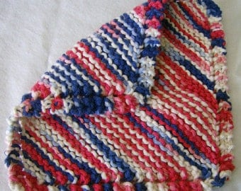 Patriotic Knitted Knit Washcloth Dishcloth - Red White & Blue