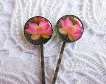 Pink Lotus Flower Hair Clips Bobby Pins.