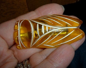 vintage fat yellow lucite painted french lucky cicada bug pin cigale