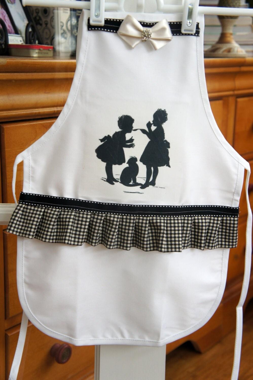 sale little girls silhouette apron black by kathycreativehome