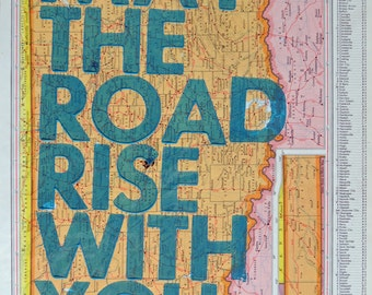 Oklahoma / May The Road Rise With You/ Letterpress Print on Antique Atlas Page