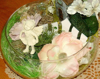 Miniatures Fairy Garden Faerie Garden Hand Crafted Fairy Faerie House on Hill White Picket Fence REDUCED IN PRICE