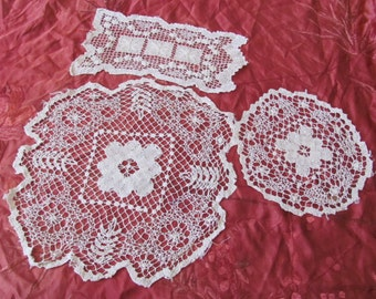 Lot of 3 Handmade Vintage Crocheted Doilies