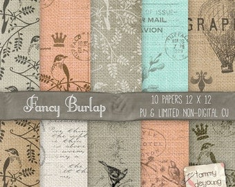 Digital Burlap Papers, Shabby Burlap Backgrounds, vintage hot air balloon patterns, bird, cottage chic for invitations, rustic weddings