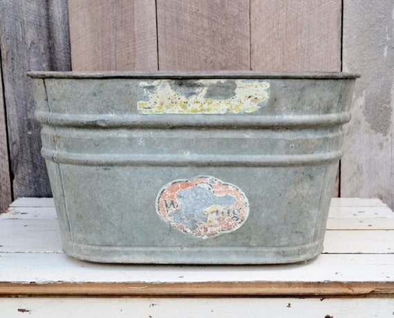 Square metal wash tub galvanized wheeling by for Large metal wash tub