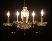 Vintage Brass Chandelier Pressed Crystals 5 Light Ceiling Fixture