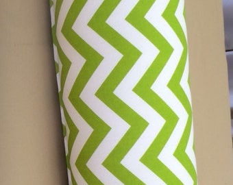 Lime Green Charteuse and White Chevron  Zig Zag Bolster Pillow  17 inches Long and extra wide 8 inches