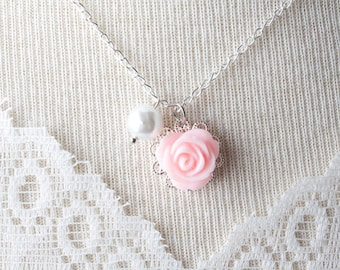Flower girl necklace, pink rose and white pearl girl necklace, girl jewelry, pink wedding flower jewelry, flower girl gift, birthday gift