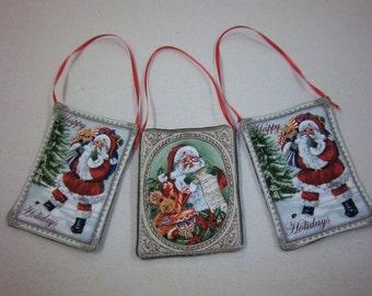 Santa Fabric Christmas Ornaments