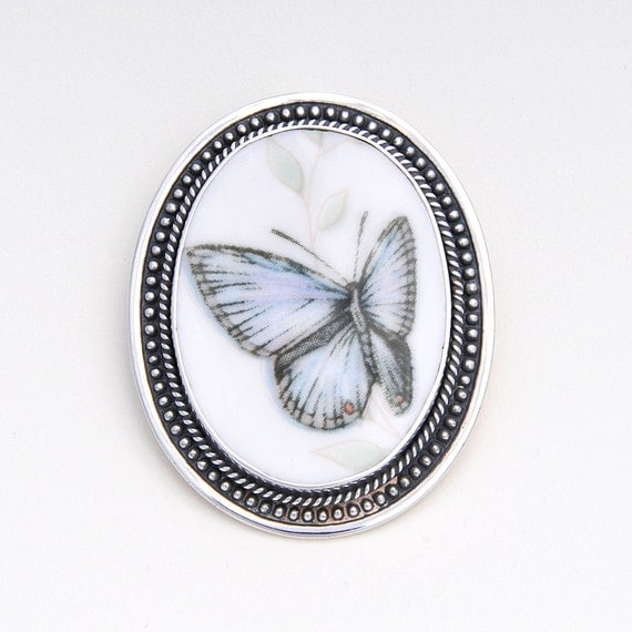 Broken China Jewelry Butterfly Meadow Eastern Tailed Blue Butterfly Sterling Oval Brooch with Pendant Bale