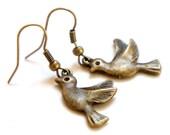 Antiqued Brass Tiny Bird Dangle Earrings - Bridesmaid Gift Idea - C0035