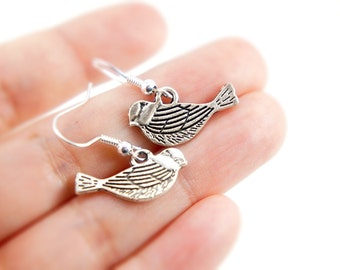 Antiqued Silver Tiny Feather Texture Bird Dangle Earrings - Bridesmaid Gift Idea - CP069