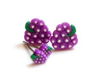 Tiny Miniature Grape Post Earrings 4mm 8mm