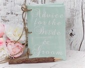 Seafoam Green Advice For The Bride & Groom Book Bridal Shower Gift Country Wedding Barn Wedding Shabby Chic Wedding Advice For The Bride