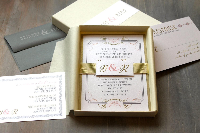 Box Of Wedding Invitations: Art Deco Elegant Box Wedding Invitations Luxury Gold