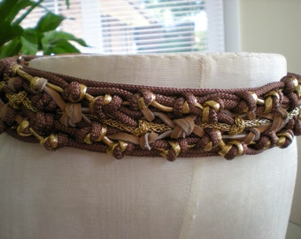Vintage Leather and Gold Cord Knotted Belt