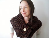 Hand knit chunky scarf / rustic neck warmer / capelet scarf / neck cozy / woodland inspired / country style scarf / warm brown / super bulky