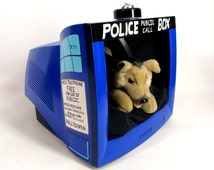 SALE was 155.00 Dr Who. TARDIS. Pet Bed. Kitty Cat & Small Dog House. upcycled PC Monitor. Unique. Geek Gift.