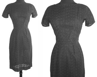 Vintage 1950s Dress . Black Eyelet Hourglass Couture Femme Fatale Garden Party Mad Man Cocktail Pinup Bombshell Rockabilly Wiggle
