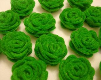 Set of 20 pcs - handmade MINI Felt Rose Flower - apple green (MRO)