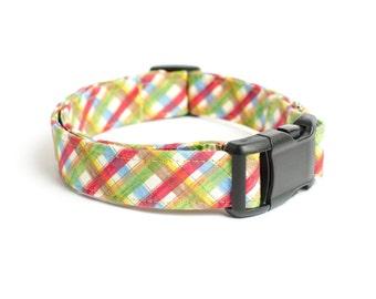 "Picnic Plaid Dog Collar - 1"" Wide - Medium & Large Sizes"