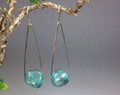 Turquoise/silver dichroic glass earrings