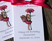 Garden Fairy Flower Seed Packets for Birthday Party  Favors Zinnia Child Personalized Keepsakes Fairy Princess theme